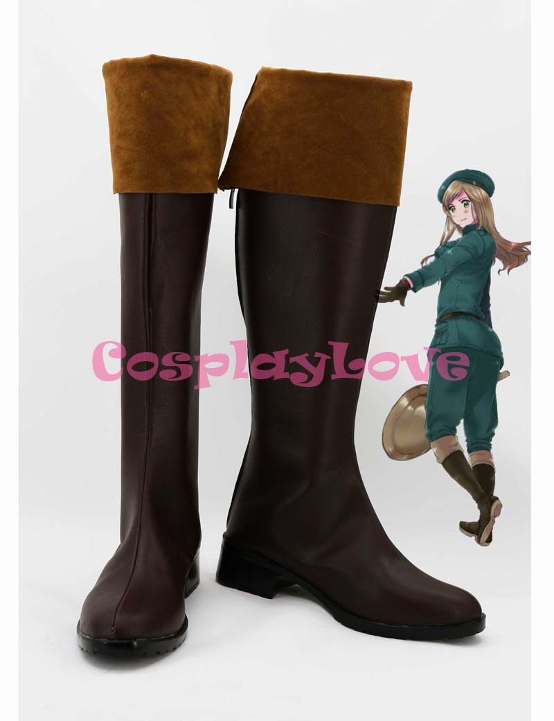 Custom Dark Brown Hungary Cosplay Shoes Loong Boots from Axis Powers Hetalia Cosplay For Halloween Christmas