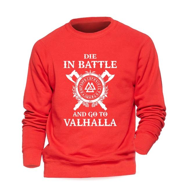 Odin Vikings Sweatshirt Men Die In Battle And Go To Valhalla Hoodie Crewneck Sweatshirts 2018 Winter Autumn Hip Hop Streetwear 5