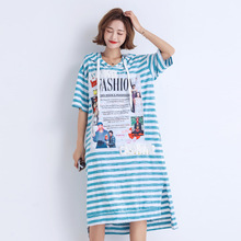 2019 Summer Woman Plus Size Short Sleeve Hooded T Shirt Dress Side Split Letter Print Long Casual Loose Oversized Striped Dress