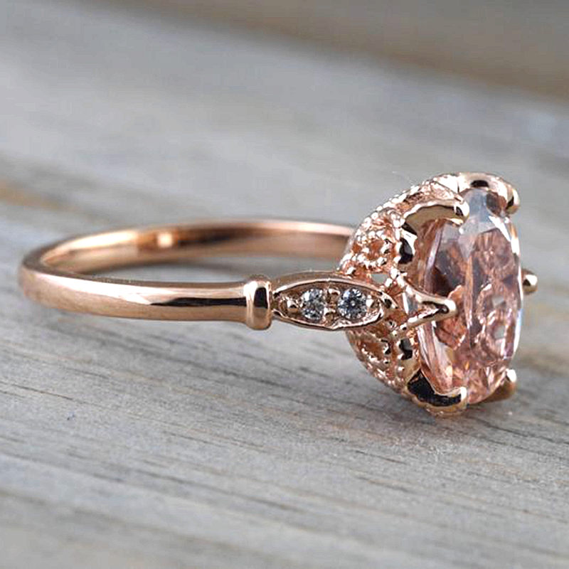 Solid 14k Rose Gold 7x9mm Oval Cut Natural Morganite Ring Real Diamonds Women Engagement Wedding Filligree Ring