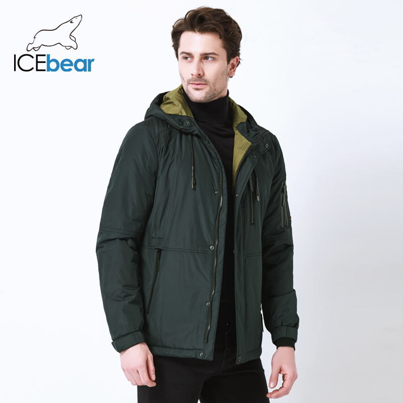 ICEbear 2019 autumn new men's casual  jacket fashion collar men's  hat men's brand jacket MWC18107I-in Parkas from Men's Clothing    2