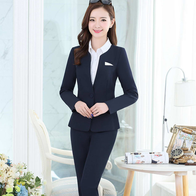 2016 Autumn Female Pant Suits Formal Uniform New Fashion Pantsuits Jackets And Pants OL Workwear ...