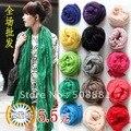 Шарф женское весна и осень сплошной цвет жидкости плиссировка женское ультра длинная шарф шелк шарф женщины 5 шт. / много