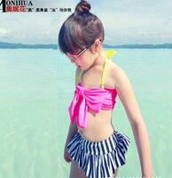 2016 Baby Girls Swimwear Toddler Kids Two Pieces Big Bow Dress Swimsuit Cute Skirt Swimwear Lovely