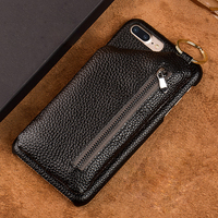 7Colors For Apple iPhone X Back Case Genuine Leather Rear Cover Moblie Phone Bag Zipper Wallet For iPhoneX + Free Gift