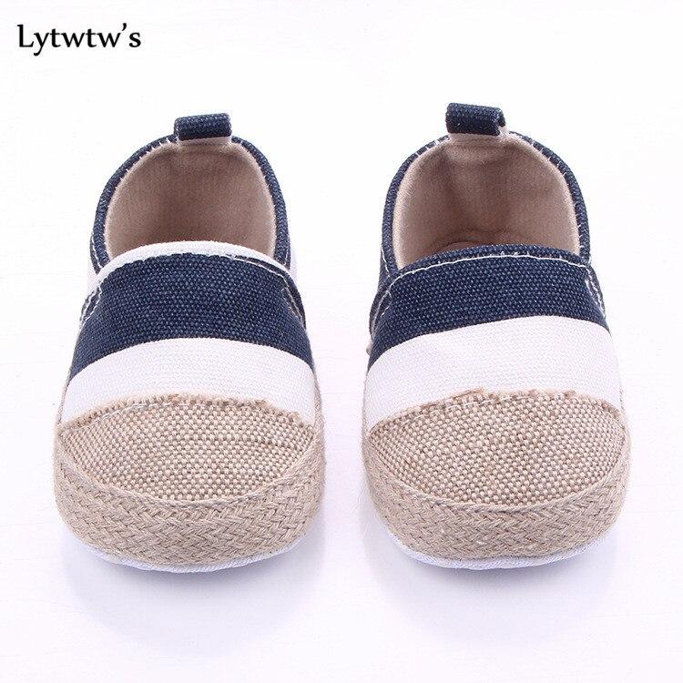 1 Pairs Lytwtws Kids Girls Boys Striped First Walkers Newborn Linen Baby Toddlers Shoes Children