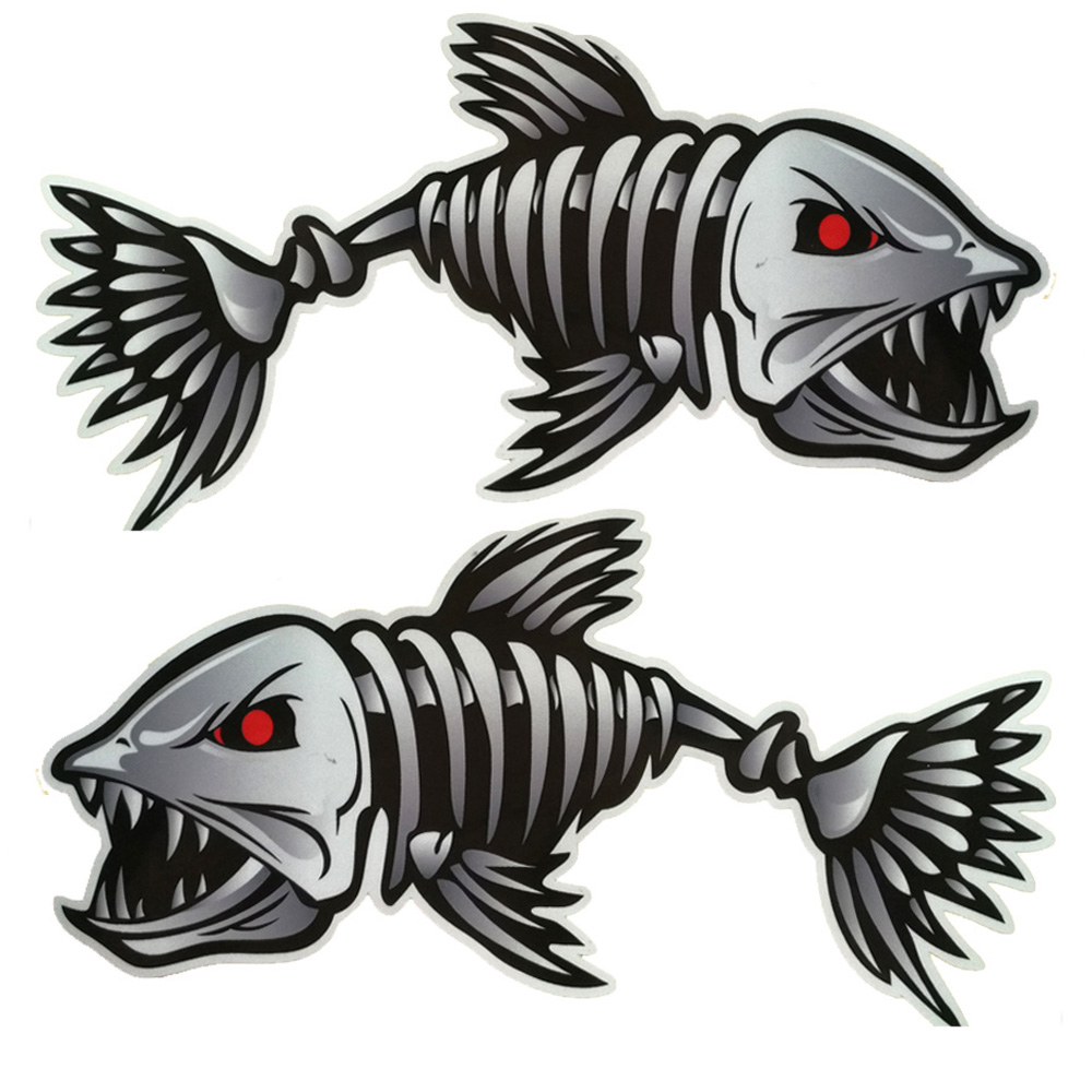 Scary Fish Skeleton Kayak Sticker Canoe Dinghy Marine Boat Car Truck Waterproof Stylish Sticker