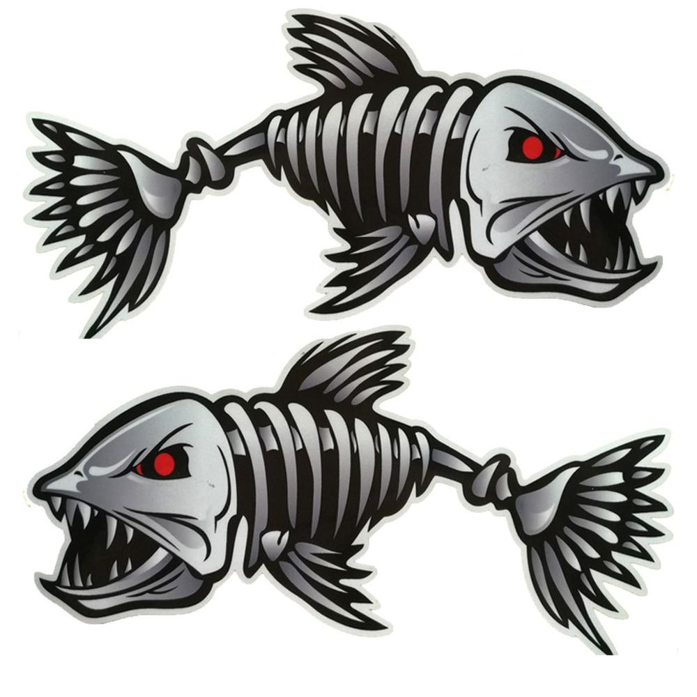 Scary Fish Skeleton Kayak Sticker Canoe Dinghy Marine Boat Car Truck Waterproof Stylish Sticker