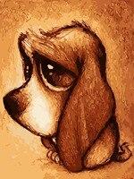 を不当な扱い悲しいかわいい犬動物絵画数字でペイントキャンバスにアクリル数字で用ホーム壁の装飾
