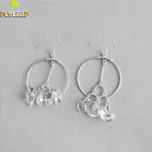 Flyleaf 925 Sterling Silver Earrings For Women Natural Crystal Circle Asymmetry Femme Simple Dangle Drop Earings Fashion Jewelry