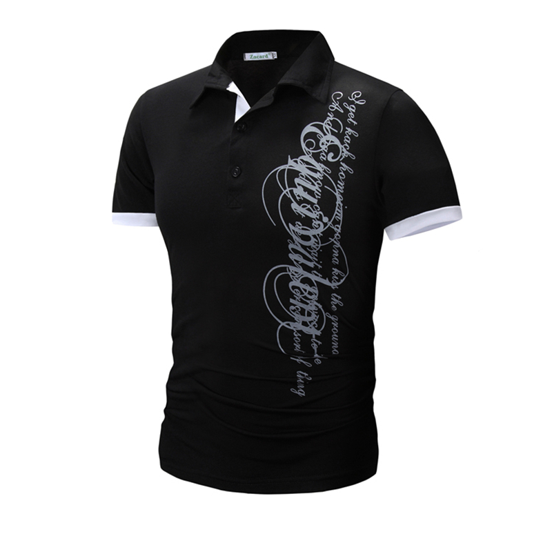 Summer 2018 Men'S Fashion Brand Male New Short-Sleeved Letter Printed   Polo   Shirt Men'S Casual Breathable   Polos   Camisa XXXL