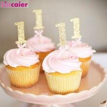 10 pçs papel brilho 1 cupcake toppers feliz aniversário decoração primeiro aniversário menino menina festa 1st aniversário meu um ano fontes