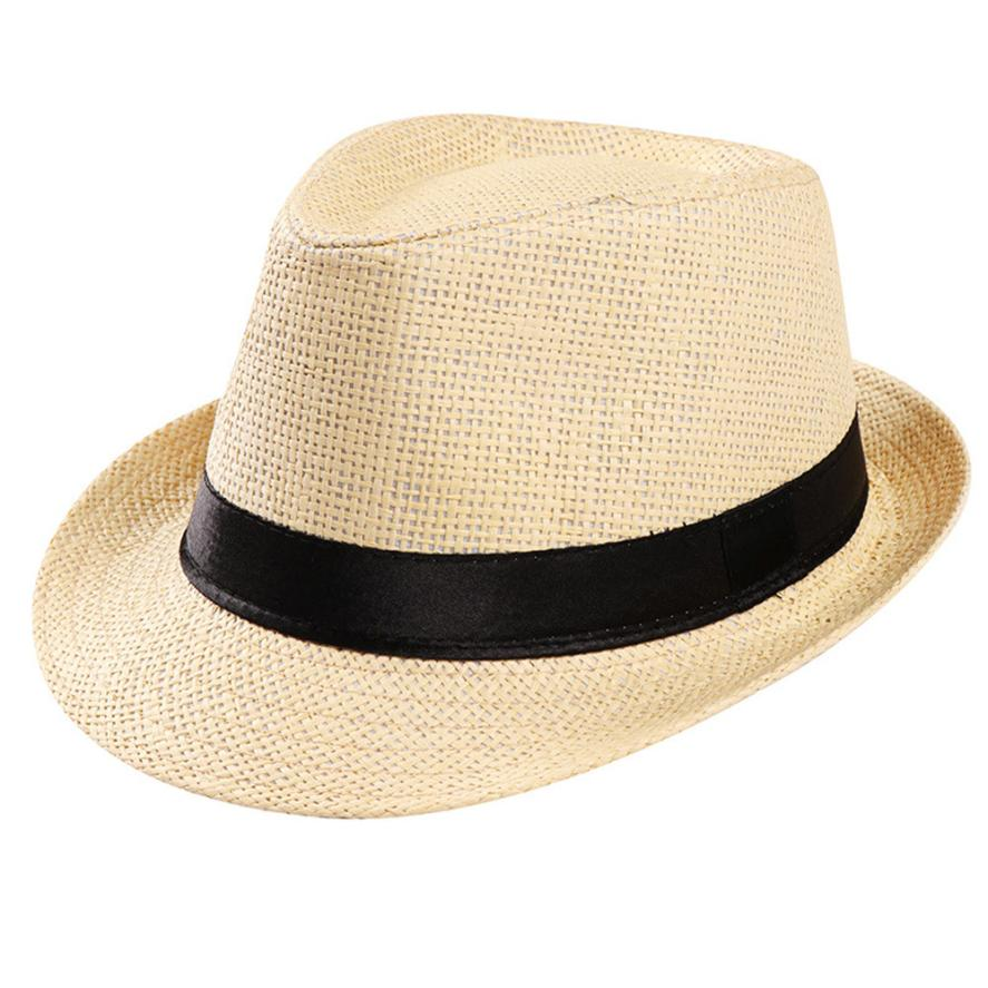 Summer Lady Boater sun caps Ribbon Round Flat Top Straw beach hat Panama  Hat summer hats 677e86bc0be0