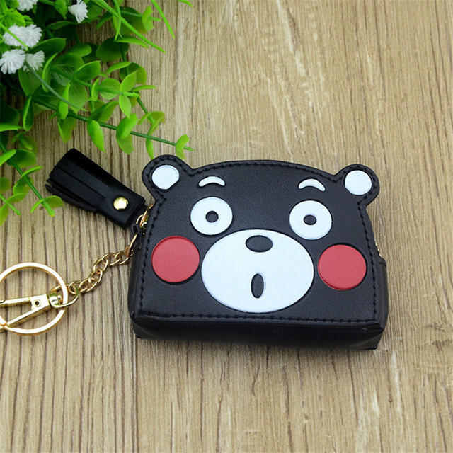 Boys Girls Cartoon Anime Kumamon Black White Cute Bear Designer Coin Purse PU Bag With Key Chain Gift