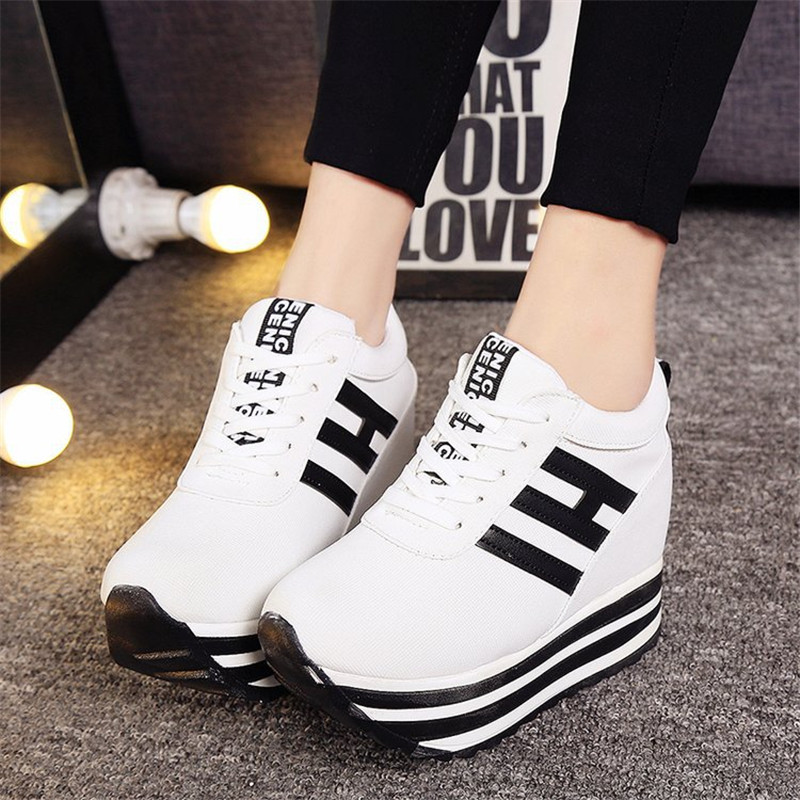 2019 Flock High Heel Lady Casual Shoes Wedges Women Sneakers Leisure Platform Shoes Breathable Increasing Slip On Footwea