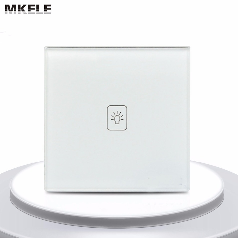 EU Standard Touch Switch 1 Gang 1 Way White Crystal Glass panel Light Switch Touch Screen wall switch mvava 3 gang 1 way eu white crystal glass panel wall touch switch wireless remote touch screen light switch with led indicator