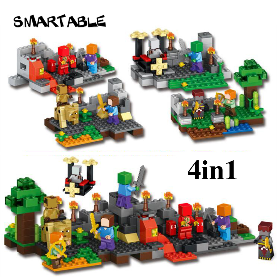 Smartable building blocks of minecrafted  4in1 steve zombie skeleton figures toys 79255 Lepin Compatible Legoing minecrafted smartable bionicle 191pcs umarak destroyer figures 614 building block toys compatible legoing bionicle lepin gift