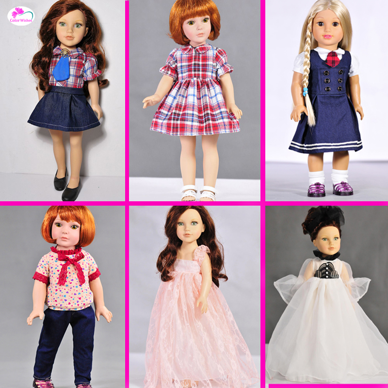 1set Doll accessories clothes dresses T-shirts, jeans for 45cm American girl and our generation doll 9 colors american girl doll dress 18 inch doll clothes and accessories dresses