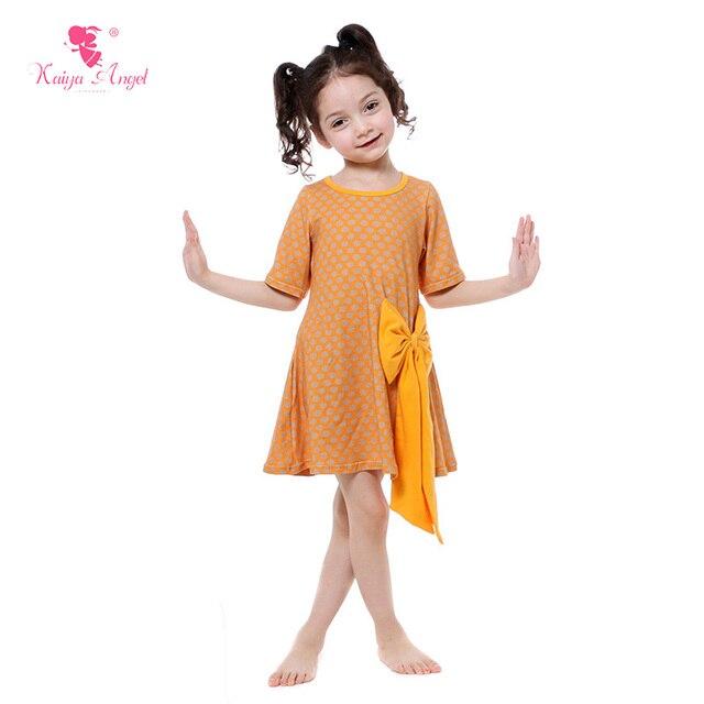 4e89b85bb1003 Kaiya Angel Bébé Fille Vêtements Moutarde Jaune Filles Robe D été Vêtements  Pour Enfants Dot