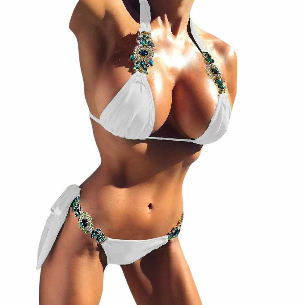 Bikini 2019 nouveaux ornements maillots de bain femmes Bikini ensemble maillot de bain Sexy Push up pierres vertes bretelles maillot de bain
