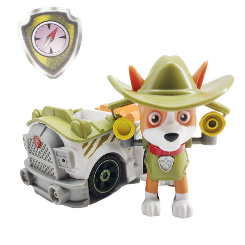 Paw Patrol Jungle Rescue Dog Tracker Pull Back Music Patrol Car Toy PVC Anime Figure Action Model Doll Toys Kids Birthday Gift