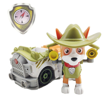 Paw Patrol Jungle Rescue Dog Tracker Pull Back Music Car Toy PVC Anime Figure Action Model Doll Toys Kids Birthday Gift