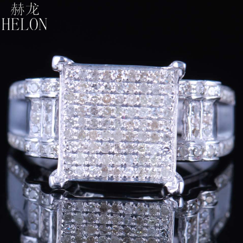 HELON 4Real 925 Silver Sterling 100% Genuine Natural 0.7ct Diamonds Pave Setting Engagement Wedding Fine Jewelry Classic RingHELON 4Real 925 Silver Sterling 100% Genuine Natural 0.7ct Diamonds Pave Setting Engagement Wedding Fine Jewelry Classic Ring