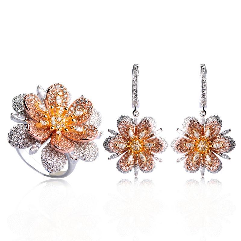 все цены на Dazz Luxury Cubic Zircon Flower Jewelry Sets Drop Earrings Ring Set For Women Wedding Party Bijoux Full Rhinestones Big Rings онлайн