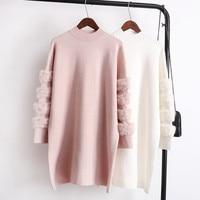 Heyouthoney Real Rabbit Fur Autumn Winter Warm Korean Turtleneck Pull Long Sleeve Women Jumpers Sweaters Pullovers