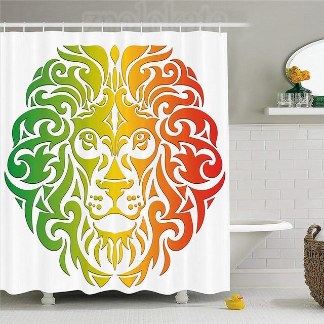 Rasta Shower Curtain Lion Portrait In Vivid Colors Portrait Head King Of  Jungle Image Fabric Bathroom