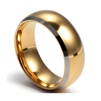 Top Quality Tungsten Carbide Rings 24k Gold Plated Engagement Wedding Men Ring Wholesale