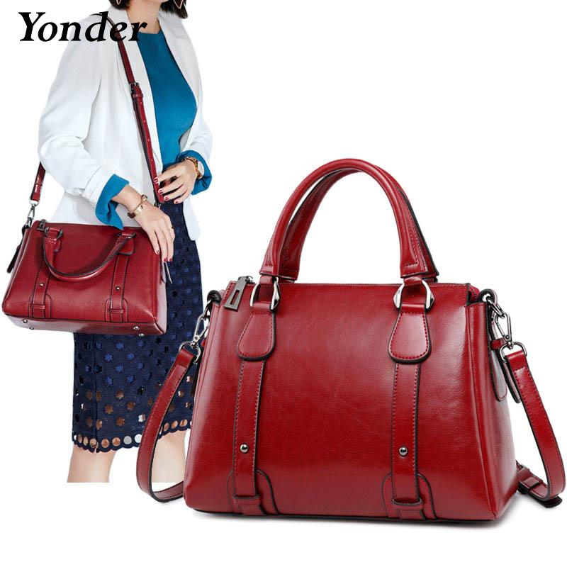 New fashion wine women's shoulder bag ladies genuine leather handbags women vintage Elegant real leather tote hand bag crossbody 2018 new style genuine leather woman handbag vintage metal ring cloe shoulder bag ladies casual tote fashion chain crossbody bag