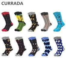 10 парт/лот качественные мужские счастливые носки из чесаного хлопка красочные забавные мужские носки 2019 модные повседневные Длинные мужские Компрессионные носки