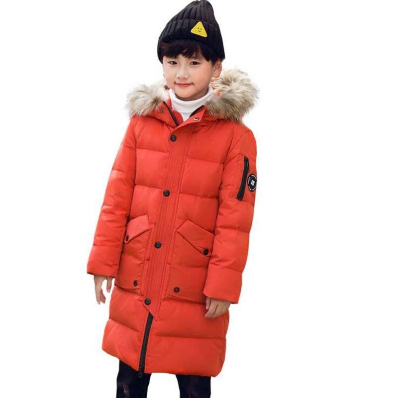-35 Degree winter Boys down jackets for 6-16Year high quality big kids white duck down jackets fur collar hooded boys down coats недорго, оригинальная цена