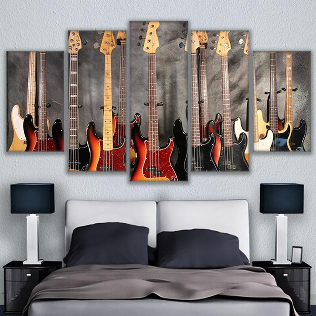 Canvas Pictures HD Prints Wall Art 5 Pieces Musical Instrument Guitar Paintings Home Decor Bass