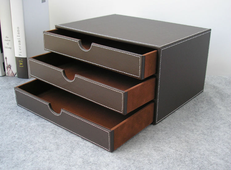 Horizontal couche tiroir bois bureau en cuir de construction