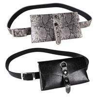 Women girls snake skin patterns print sexy belt small phone pocket belts 100 cm new 2019 spring summer gray black red pink brown
