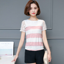 new summer 2017  short sleeve lace women blouse hollow out unlined stripe tops O-neck causal shirt 920E
