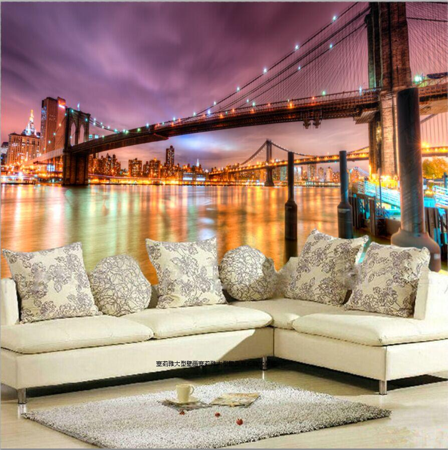 Night New York City Bridge Building 8D Papel Murals 3d Photo Mural Wallpaper for Living Room TV Background 3d Wall Murals Fresco brooklyn bridge pop up card 3d new york souvenir cards
