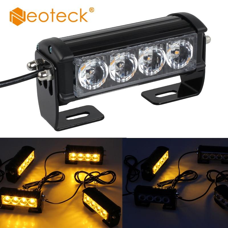 Neoteck 4 x 4 LED 12V 24V Bar Amber Car Truck Flashing Emergency Grille Light Recovery Strobe Light Flashing Light With Screws террариум ferplast jamaica 110 scenic серебристый полукруглый 110х55х48см