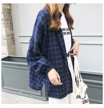 2019 New Woman Vent Vintage Plaid Shirt Single Breasted Turn down Collar Cotton Long Sleeve Button Feminina Sales T8D512Z 4