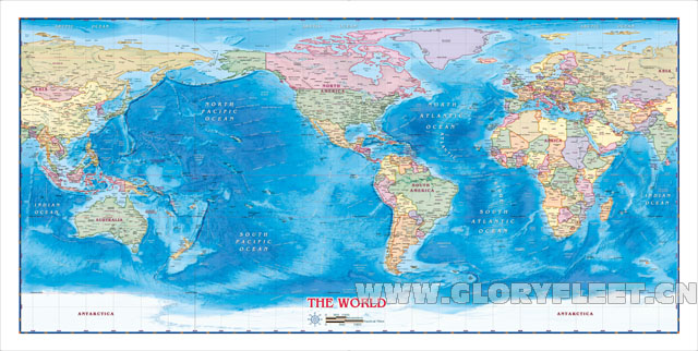 Large HD Major Ports World Map Classrooms Office Home Decoration