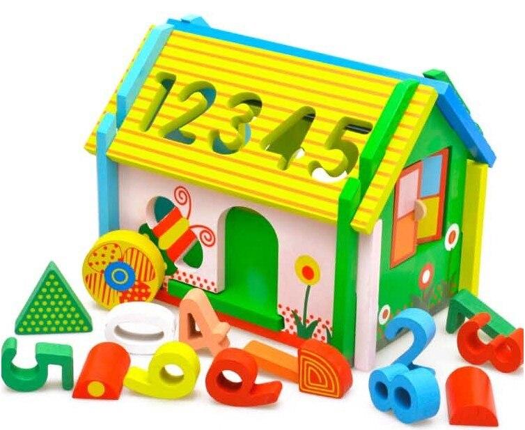 Montessori bébé jouets géométrique assemblage jouets en bois éducatif filetage conseil perlé blocs enfant cadeau W075
