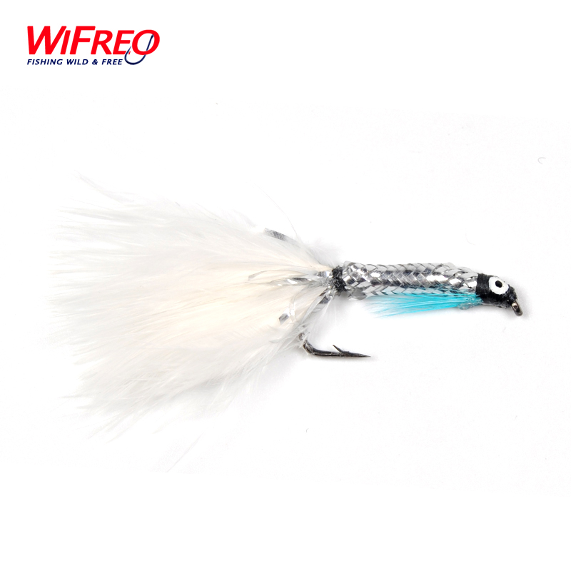 [6 PCS] Size #4 White/Silver Streamer Minnow Fishing Flies Wifreo Free Box car adapter aux mp3 sd usb music cd changer cdc connector for acura mdx rdx rl tl radios