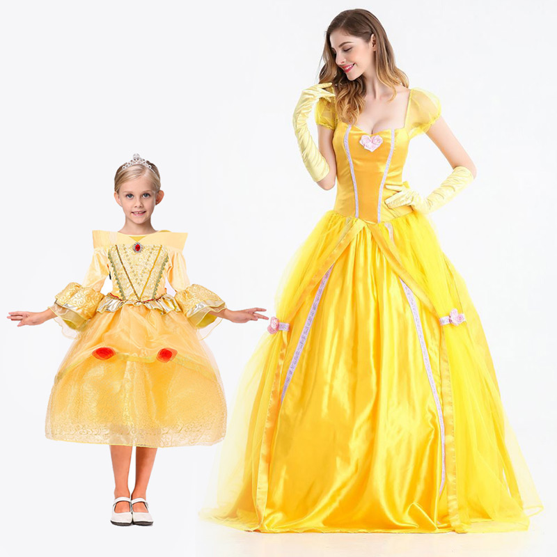 Halloween Cosplay Princess Dress Mother and Daughter Dresses Costumes Family Matching Outfits Children Jumpsuit Stage Clothing 4 pcs set kids west cowboy costume halloween cosplay clothing for children boys performance children stage carnival costumes
