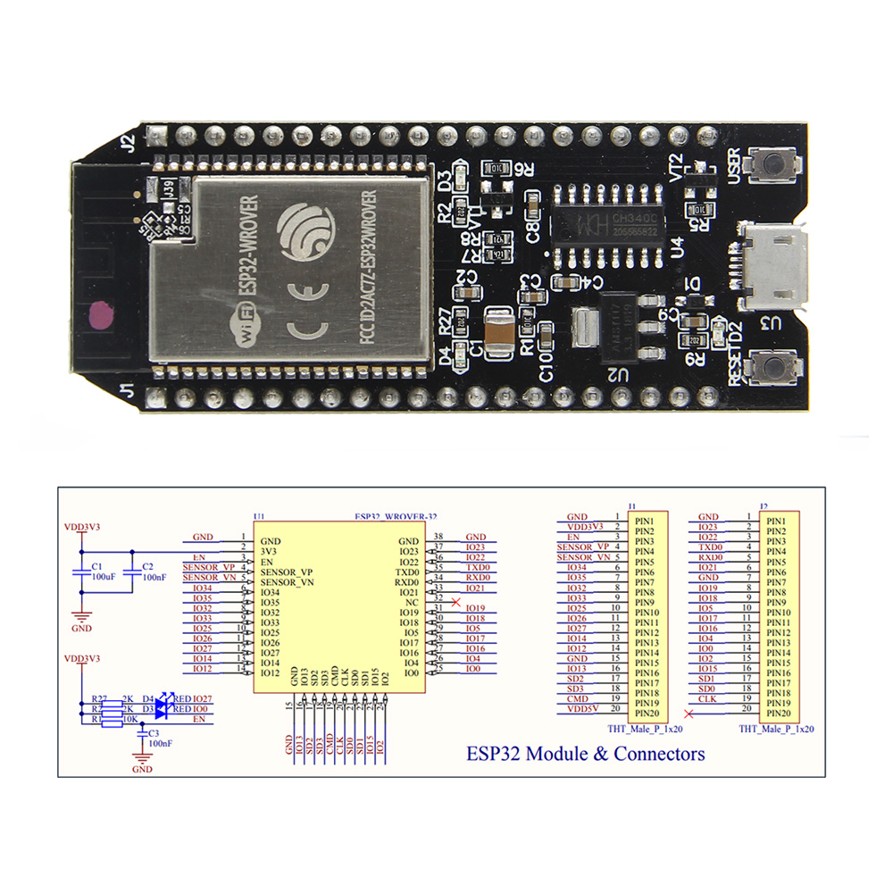 ESP32-WROVER PCB Development Board WiFi and Bluetooth Low Power Consumption  Dual Cores Board with 8MB PSRAM ESP32