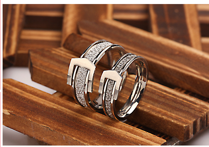fa9f3ca06c Personalized fashion belt buckle frosted titanium steel ring couple  Stainless steel jewelry engagement gift Silver money ring-in Rings from  Jewelry ...