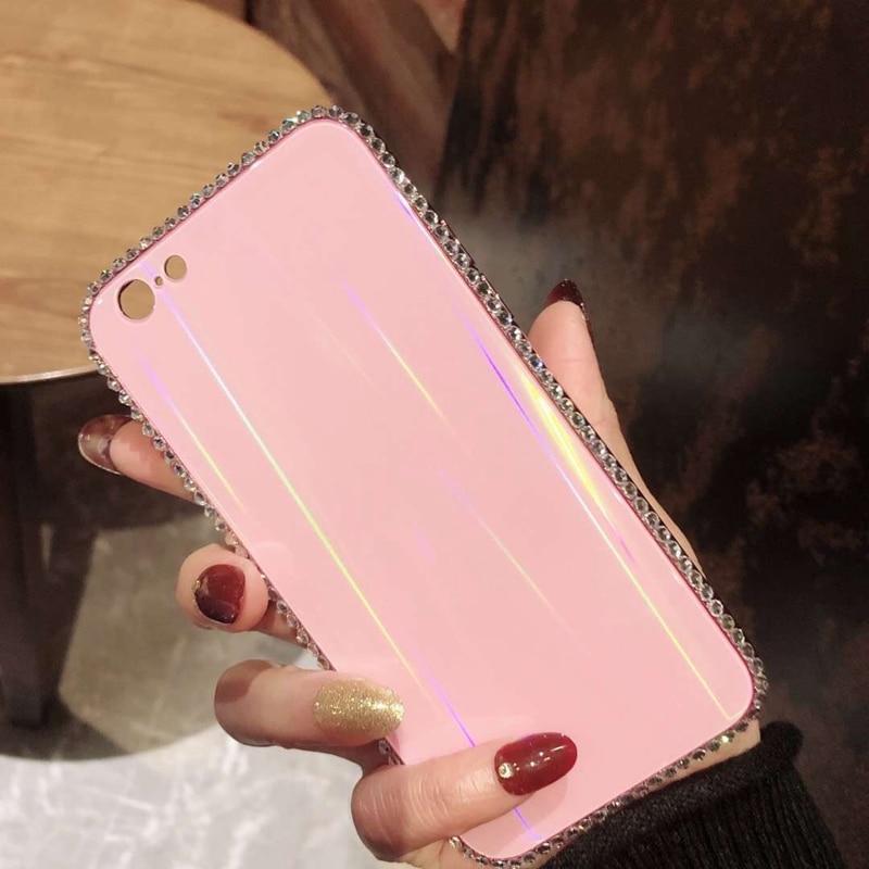 Tfshining Luxury Laser Aurora Glass Case For iphone XR XS Max X 8 7 Plus 6 6s Plus Gradient Rainbow Diamond Bling Hard Cover Bag (3)