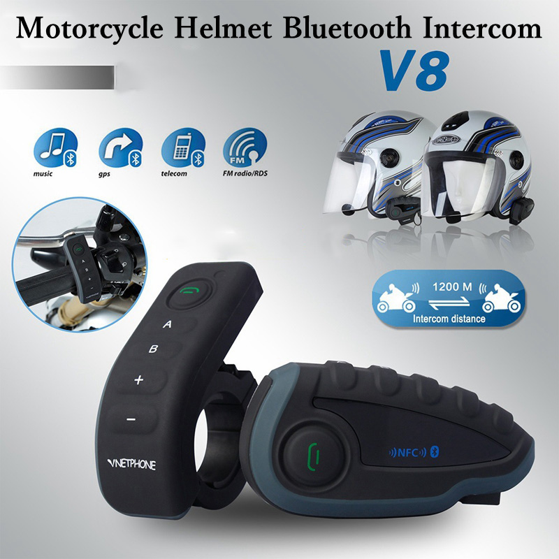 VNETPHONE V8 Helmet Headset Motorcycle Intercom 1200m Helmet Bluetooth Interphone full-duplex 5 people at the same time intercom