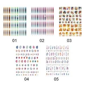 Image 4 - 1 גיליון שיפוע פסים צבעוני קווי 3D נייל אמנות מדבקת דבק מדבקות DIY ציפורניים אביזרי נייל קישוטים